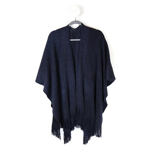 Pom Blue knitted winter wrap with metallic stripes