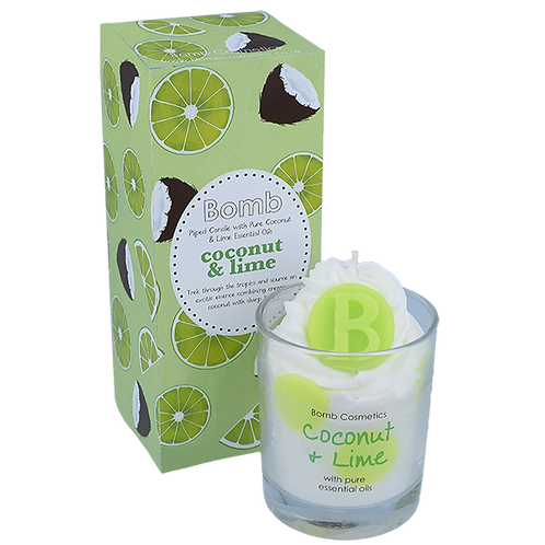 Bomb cosmetics coconut and lime piped candle