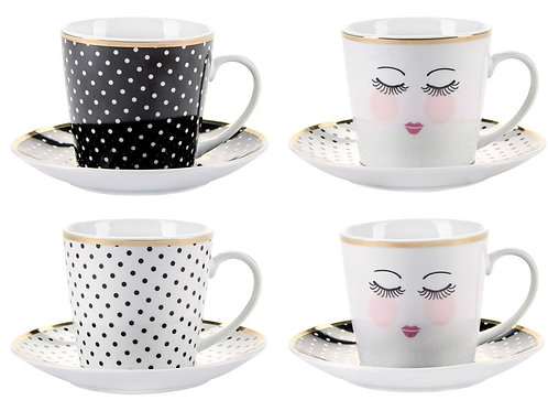 Miss Etoile coffee cup and saucer set of 4