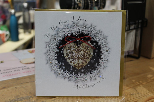 'To the One I Love at Christmas' Gold Heart Romantic Christmas Card