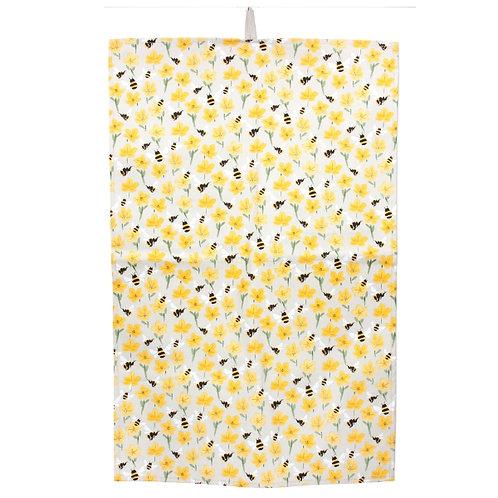 Gisela Graham bee/buttercup print tea towel