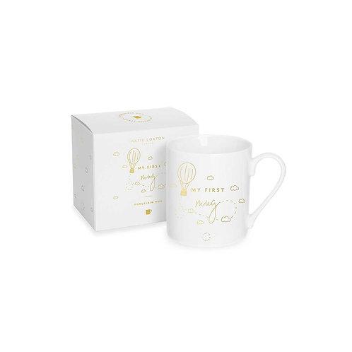 Katie loxton 'my first mug' boxed white and gold mug