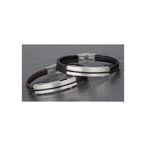 Mens Brown Genuine Leather Bracelet - Thicker Variant