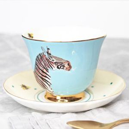 Yvonne ellen teacup and Saucer blue zebra