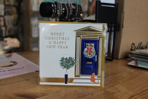 Wendy Jones-Blackett 'Merry Christmas & Happy New Year' Blue Door Christmas Card