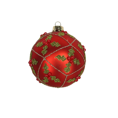 Gisela Graham Red Holly Christmas Bauble