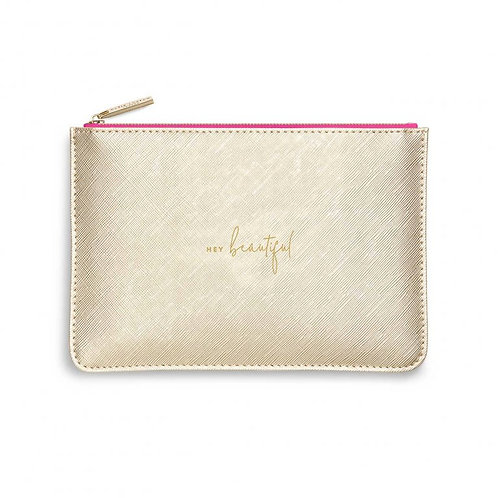 Katie Loxton Colour Pop 'hey beautiful' gold and pink pouch