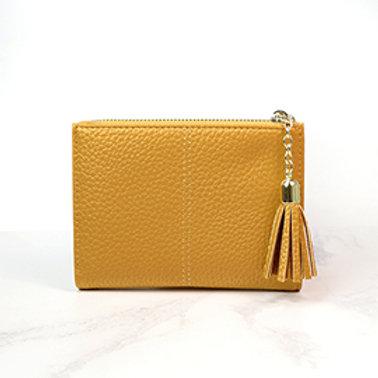 Pom faux leather mustard tassled wallet