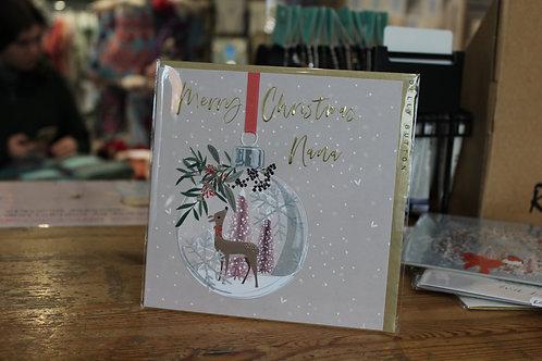 'Merry Christmas Nana' Deer Bauble Christmas Card