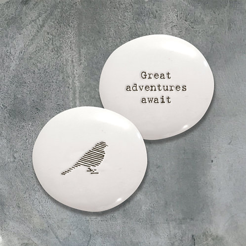 East of india 'great adventure awaits' boxed double sided pebble