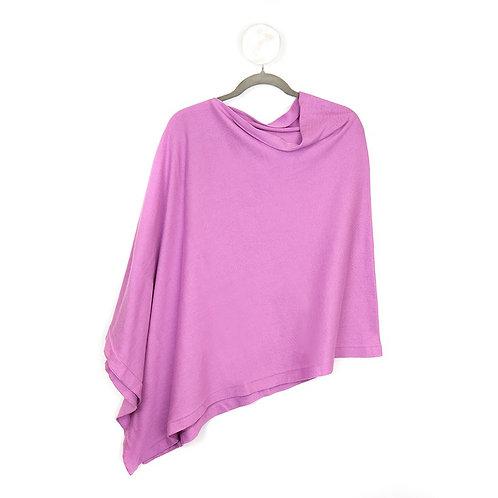 Pom fine knit cotton poncho in lilac
