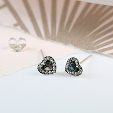 Pom sterling silver round shell and crystal stud earrings