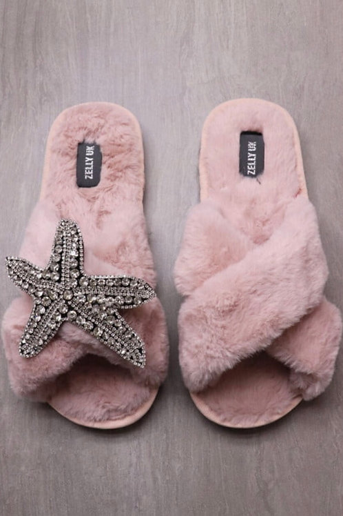 Zelly vintage pink fur slipper with removable starfish brooch