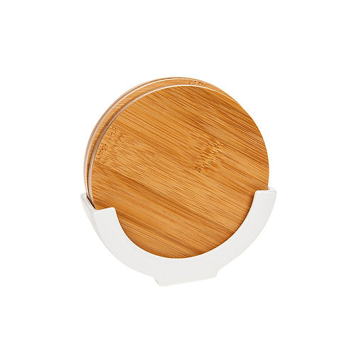 Set of 4 Wooden Coasters with a White Stand