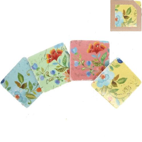 Gisela Graham Set of 4 Bright Floral Pattern Tile Coasters