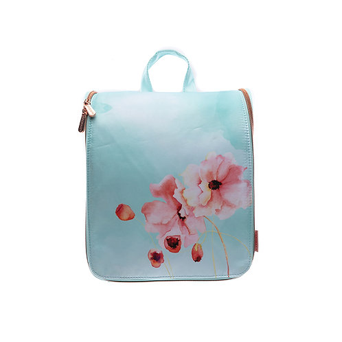 Danielle Beauty pink and blue floral hanging wash bag