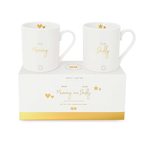 Katie loxton 'new mummy and daddy' boxed mug gift set in white and gold