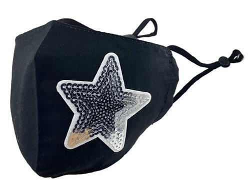 Zelly Fashion Face Covering - Black and Silver Sequin Star