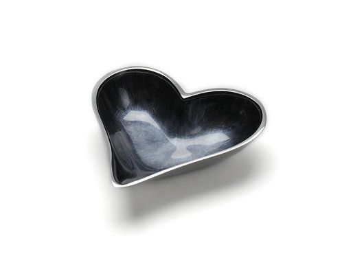 Azeti recycled aluminium brushed black mini heart bowl