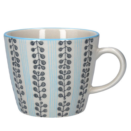 Gisela Graham Light and Dark Blue Pattern Ceramic Mug