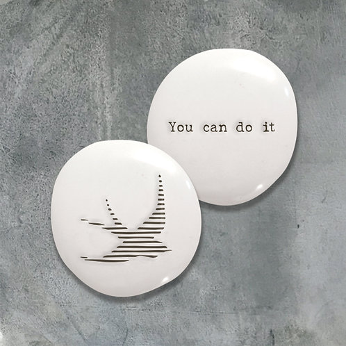 East of india 'you can do it' boxed double sided pebble