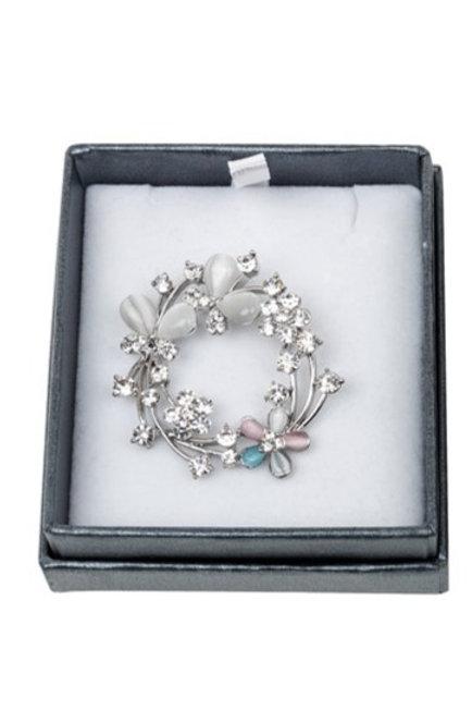 Equilibrium silver wreath brooch