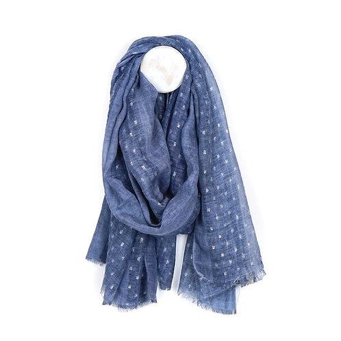 Pom blue scarf with metallic dash pattern