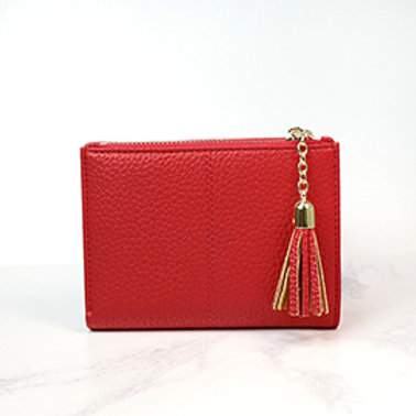Pom faux leather red tassled wallet