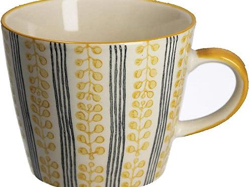 Gisela Graham Yellow and Blue Pattern Ceramic Mug