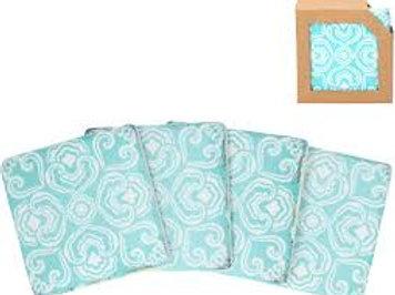 Gisela Graham Set of 4 Vibrant Blue Mosaic Tile Coasters
