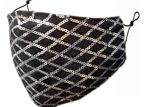 Zelly Fashion Face Covering - Black and Silver Sequin Grid