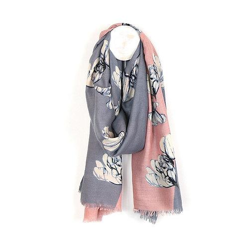 Pom pink and grey diagonal flower print scarf