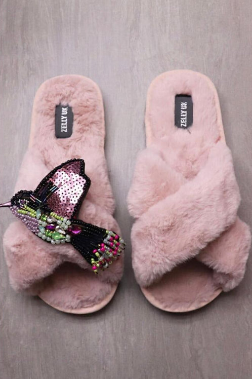 Zelly vintage pink fur slipper with removable hummingbird brooch