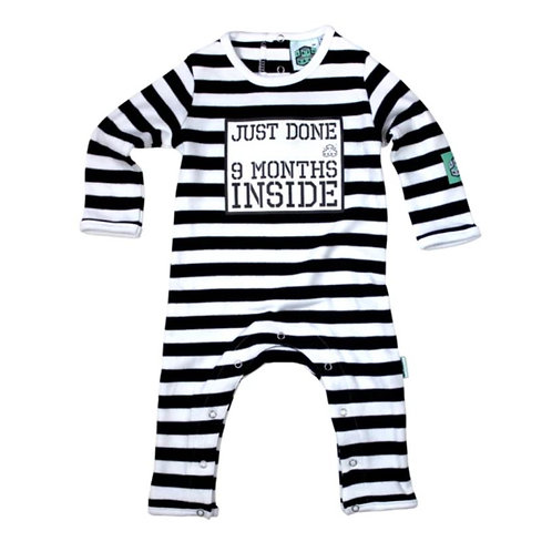 Lazy baby 'just done 9 months inside' baby grow