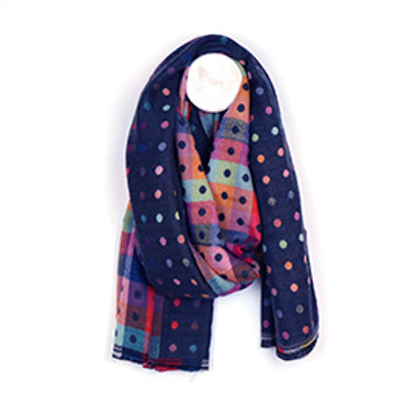 Pom multicoloured reversible jacquard dotty scarf (3 colours)