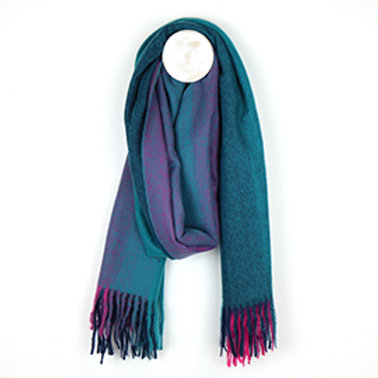 Pom teal and pink winter fringed scarf