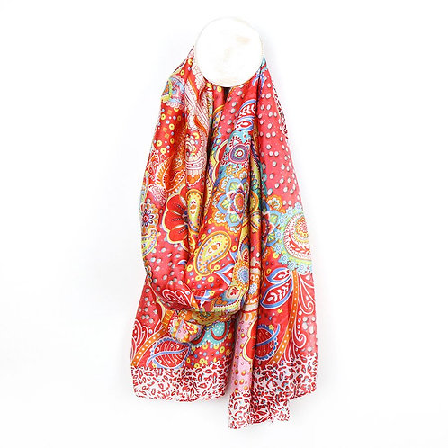 Pom red mix silk-like scarf with a paisley print