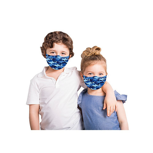 Snoozies Washable Face Covering for Children-Blue Sharks