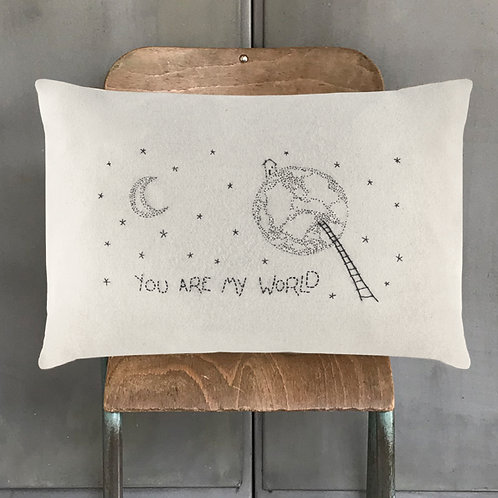 East of india 'you are my world' wool cushion
