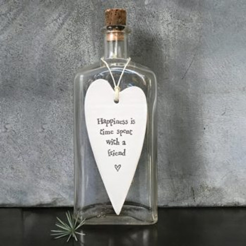 East of india 'happiness is time spent' porcelain hanging