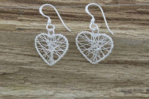 Jambo jewellery sterling silver wire heart earrings
