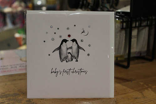 'Baby's first Christmas' Penguin Family Baby Christmas Card