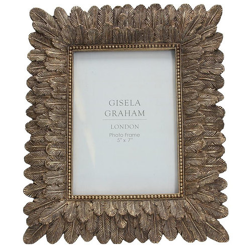 Gisela Graham Gold Feather Picture Frame - Multiple Sizes
