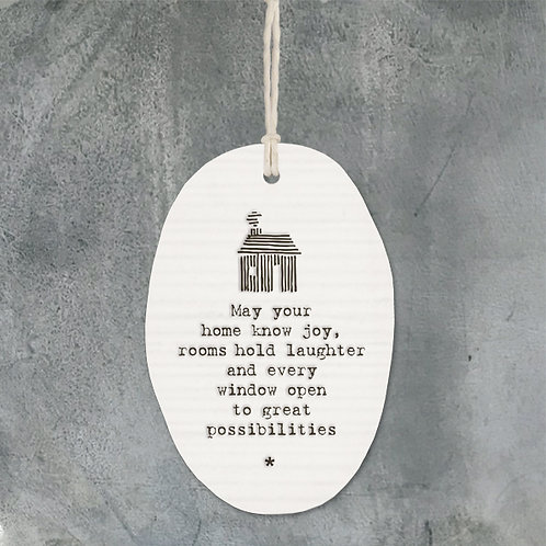 East of india 'may your home know joy' porcelain oval hanging