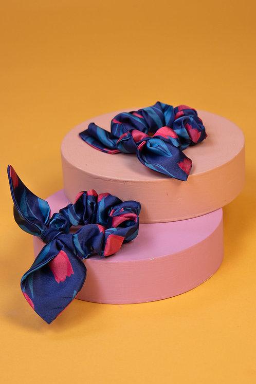 Powder navy and pink design scrunchie