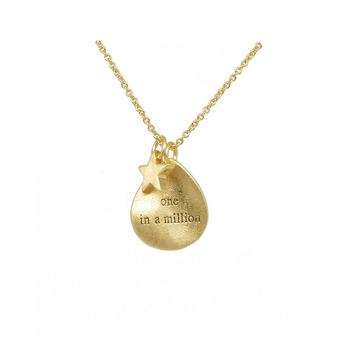 White leaf gold plated 'one in a million' necklace