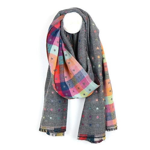 Pom light grey tiny star jacquard scarf