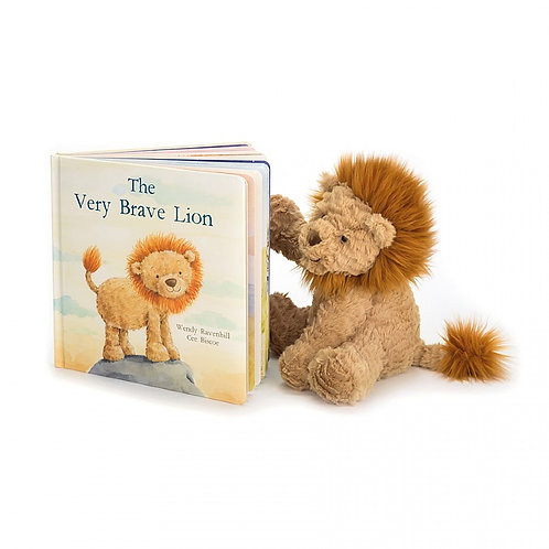 Jellycat The Very Brave Lion Picture Book + Bashful Lion (sold separately)