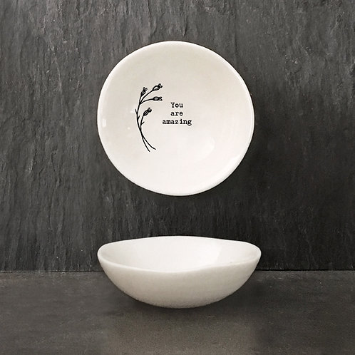 East of india 'you are amazing' boxed small porcelain wobbly bowl