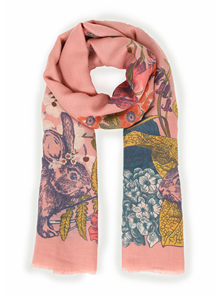 Powder Country Animals Print Coral Scarf